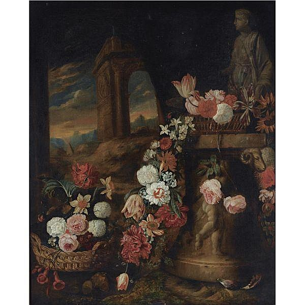 Charles Stoppelaer , 1663 - 1763 A still life of roses, daffodils, parrot tulips, snowballs and other flowers in baskets and a garland on a sculpted column, near a classical statue, a view of an arch and the pyramid of Cestius in Rome beyond oil on