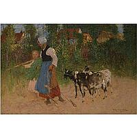 Thomas Austen Brown , 1859 - 1924 the road home oil on canvas