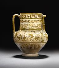 A LARGE KASHAN LUSTRE POTTERY JUG, PERSIA, EARLY 13TH CENTURY |