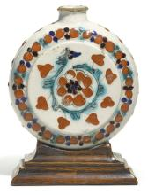 A SMALL KÜTAHYA POLYCHROME POTTERY MOONFLASK ON STAND, TURKEY, 18TH/19TH CENTURY |