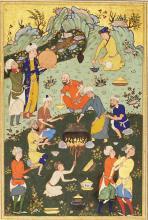 A GATHERING ON A HILLSIDE, BUKHARA OR KHURASAN, MID-16TH CENTURY |
