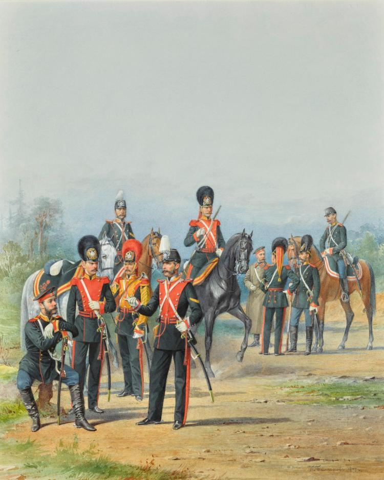 PIOTR IVANOVICH BALASHOV   A Group of Men of the Dragoon and Hussar Regiments