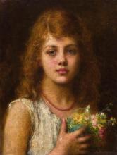 ALEXEI ALEXEEVICH HARLAMOFF | Portrait of a Girl Holding Flowers