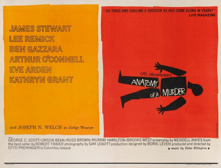 Lot 12: \'ANATOMY OF A MURDER\' (1959) POSTER | British, Style B ...