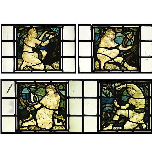 - Henry Holiday (1839 - 1927), attributed to , A pair of panels