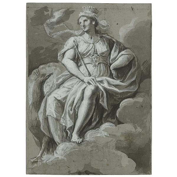 Carlo Alberto Baratta , Genoa 1754 - 1815 juno seated in the clouds, a peacock by her side Point of the brush and gray-brown wash, over black chalk, within black chalk framing lines, on paper washed gray