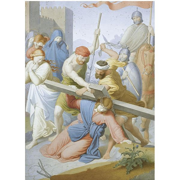 Johann Friedrich Overbeck , Lübeck 1789 - 1869 Rome the way to calvary   Watercolor heightened with gold, over black chalk; bears pencil inscription, verso : S. B.o. Arg grande al netto