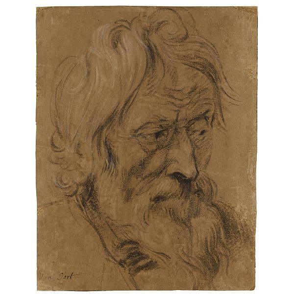 Attributed to Adam van Noort , Antwerp 1561 - 1641 head of a bearded man, three quarters profile oiled black chalk, heightened with white chalk, on light brown paper; bears inscription in brown ink, lower left: Van Oort
