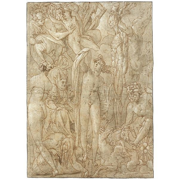 Attributed to Jacopo di Guasparre, called Il Rosso Fiorentino , Florence 1494 - 1541 Fontainebleau apollo surrounded by several gods weeping at the fate of marsyas Pen and brown ink and gray wash over red chalk, heightened with partly oxidized white,