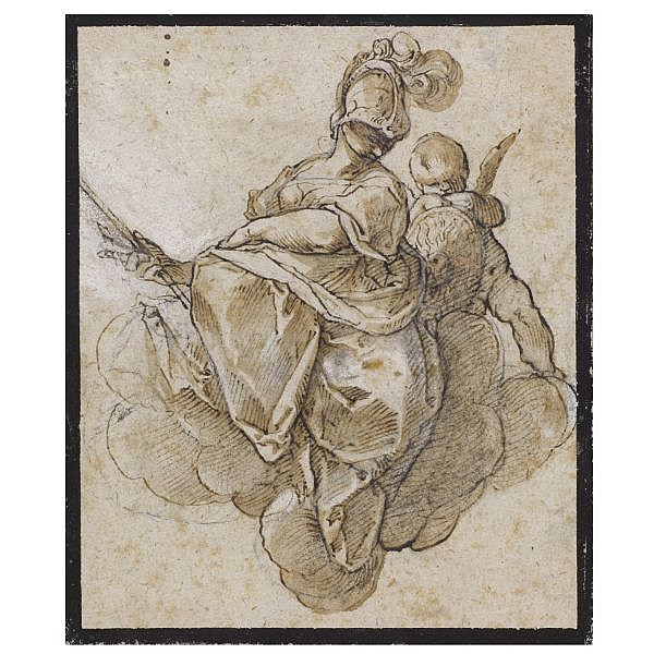Joseph Heintz the Elder , Basel 1564 - 1609 Prague Minerva with a putto Pen and brown ink and wash over black chalk with touches of white heightening, incised for transfer, within black ink framing lines; bears attribution in pencil, verso : Domenico