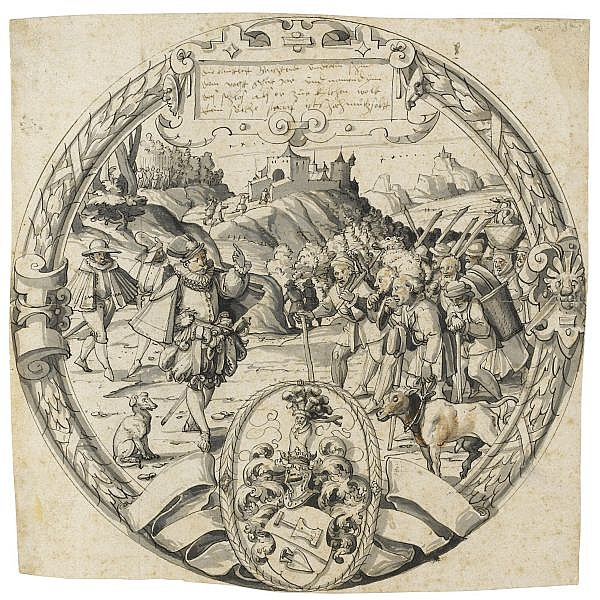 Christoph Murer , Zürich 1558 - 1614 Winterthur a roundel with a historical scene from and the arms of thomann of zurich Pen and black ink and gray wash with touches of red-brown wash; horizontal and vertical folds; inscribed, apparently in Murer's