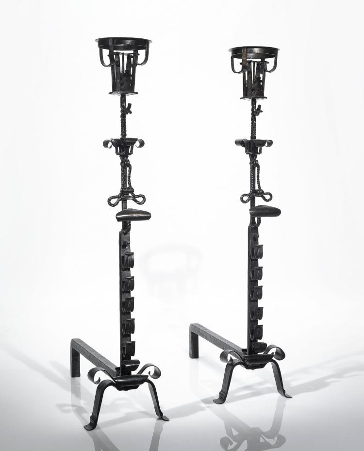 SAMUEL YELLIN   Pair of Andiron-Candlestands