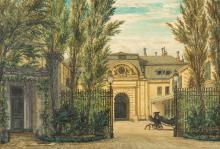ATTRIBUTED TO HEINRICH HOFER 1825-1878 | Entrance to the stables of 17 place Vendôme, Paris