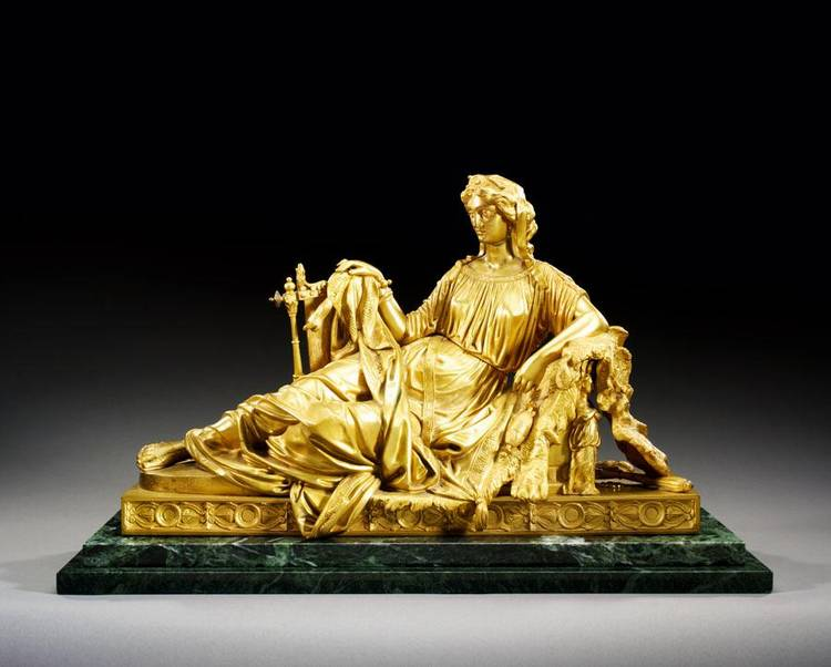 w - VICTOR EVRARD, FRENCH, 1807-C.1877, A RECLINING FIGURE OF ONE OF THE THREE GRACES, POSSIBLY