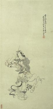 CHINESE PAINTING FROM THE ER ZHI XUAN COLLECTION REN XIONG 1823-1857 LADY PRACTISING FENCING