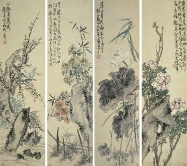 CHINESE PAINTING FROM THE ER ZHI XUAN COLLECTION PU HUA 1834-1911 FLOWERS OF THE FOUR SEASONS