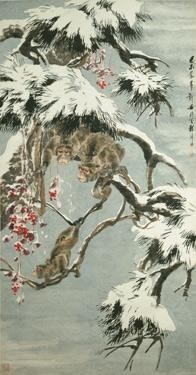 CHINESE PAINTING FROM THE ER ZHI XUAN COLLECTION CHENG ZHANG 1869-1938 APES AMONG SNOWY PINES
