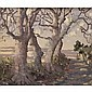 f - Mabel Young 1890-1974 , a tree-lined road on an autumn evening , Mabel Young, Click for value