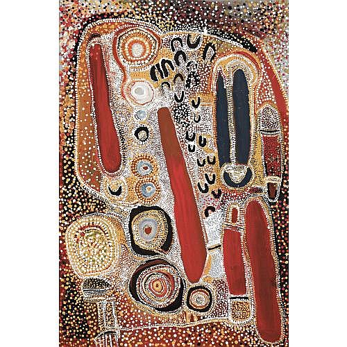 TOMMY SKEEN TJAKAMARRA , YABANU NGULA NGULA NEAR YAKA YAKA IN THE GREAT SANDY DESERT 1994