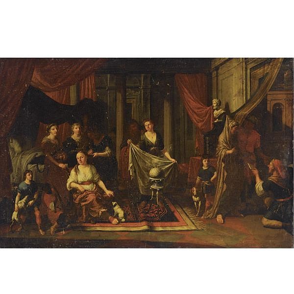 Johann Heiss Memmingen 1640 - 1704 Augsburg , an allegory with vestal virgins, together with servants and dogs in a classical interior oil on canvas, unframed