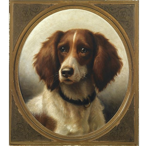 Carl Friederich Deiker 1836-1892 , Two portraits of Spaniels; a pair Oil on canvas (both set in an oval)