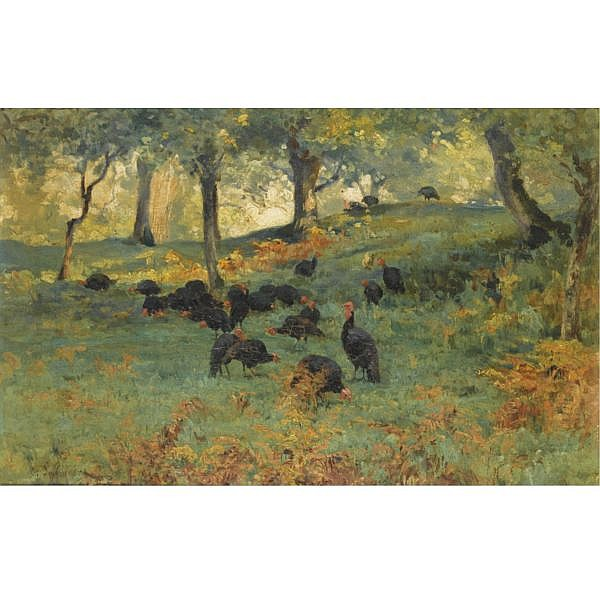 Ernst Johannes Schaller 1847-1887 , Turkeys in a forest landscape Oil on canvas