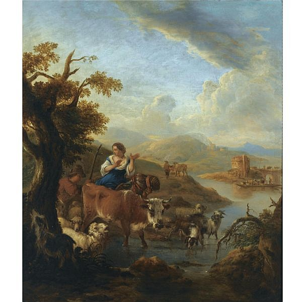 Michiel Carrée The Hague 1657 - 1727 Alkmaar , A shepherd and a shepherdess with their herd fording a river in an italianate landscape, a tower in the distance oil on canvas