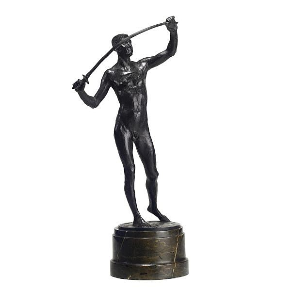 A bronze figure of a swordsman by Wilhelm Otto (German, 1871-1942) early 20th century