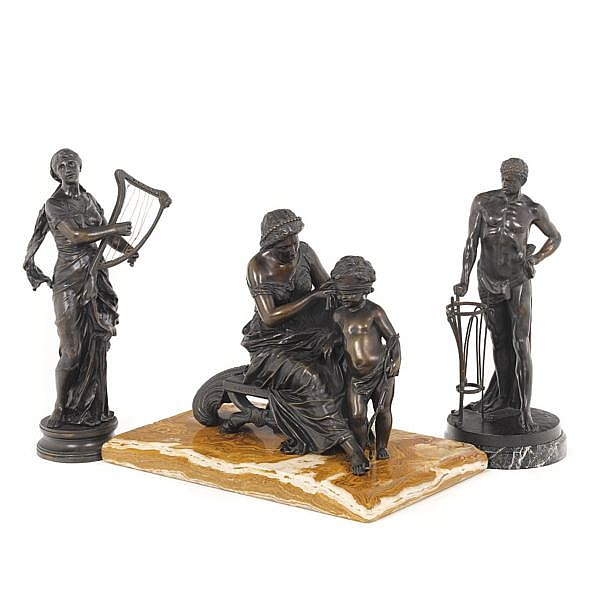 Alfred-Louis Habert, 1824-1893, French. A bronze group of Venus and Amor