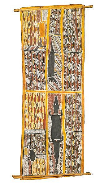 MUNGGURRAWUY YUNUPINGU , CIRCA 1907-1979 THE COMING OF FIRE Natural earth pigments on eucalyptus bark