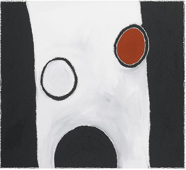 PADDY BEDFORD , CIRCA 1922-2007 WINPERRJI - POLICE ROCK HOLE Natural earth pigments and synthetic binder on linen