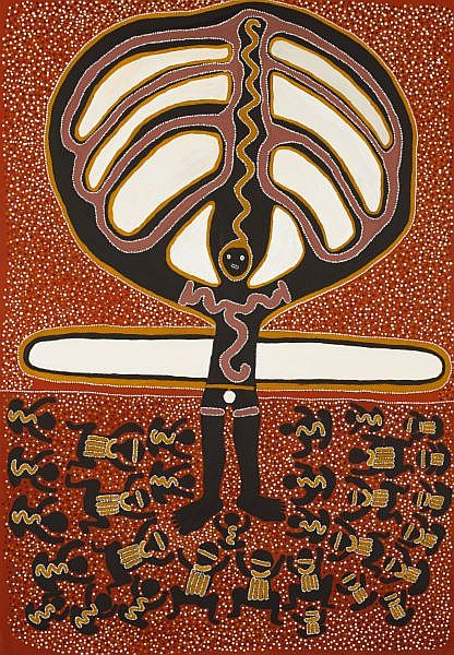 JARINYANU DAVID DOWNS , CIRCA 1925-1995 DANCE OF KURTAL Natural earth pigments and synthetic binders on linen