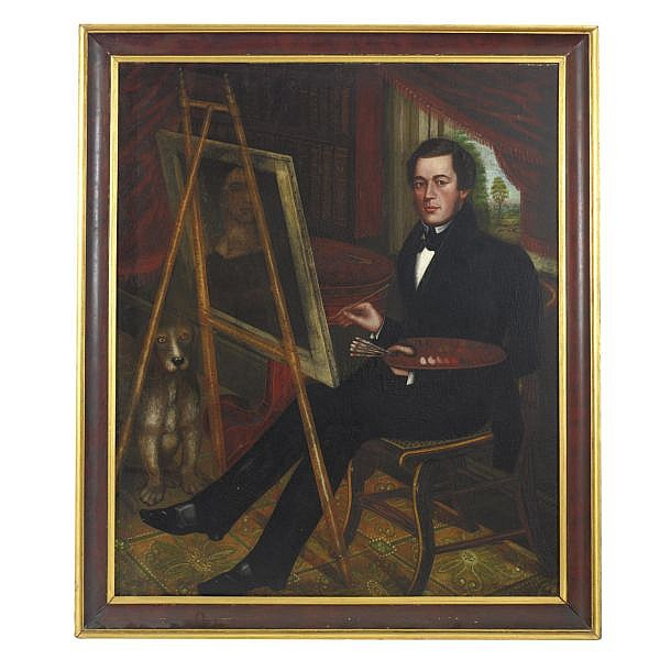 Randall Palmer (FL. CA 1839-1843) , Self-Portrait of the Artist at his Easel, His Dog Seated Beneath an Empire Center Table oil on canvas