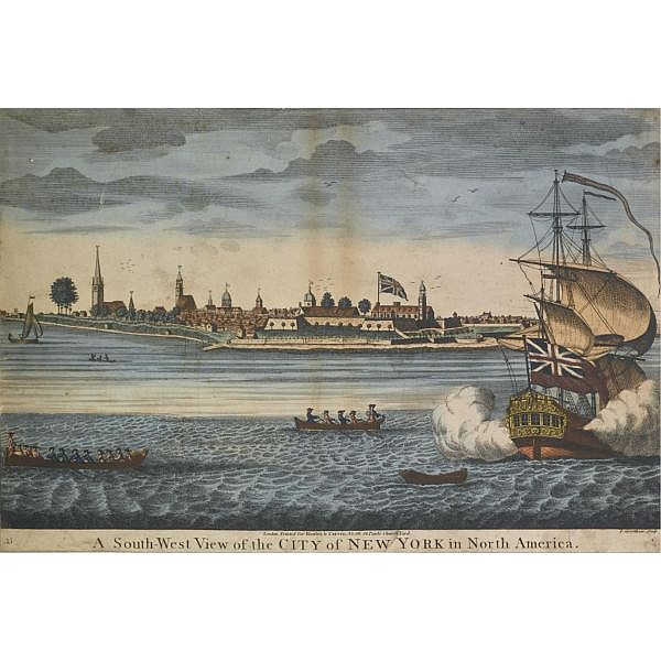 John Carwitham , (active 1723-1741) A South-West View of the City of New York in North America (Deák 84, Shadwell 29)