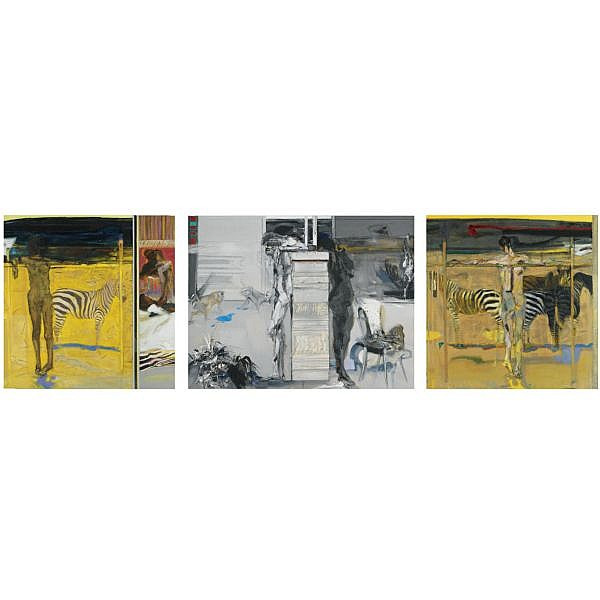 - Sir Robin Philipson, R.A., P.R.S.A., R.S.W. , 1916-1992 zebra, a triptych each oil on canvas