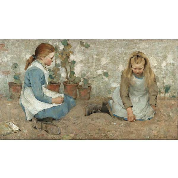 George Henry, R.A., R.S.A., R.S.W. , 1858-1943 playmates   oil on canvas