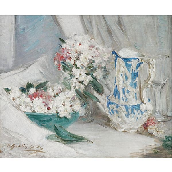 William Somerville Shanks , 1864-1951 still life with a blue jug oil on canvas