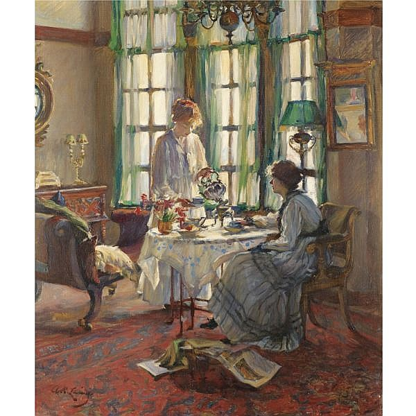 Annie Rose Laing , 1869-1946 A Helensburgh Breakfast oil on canvas