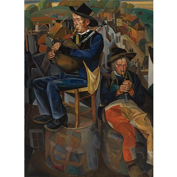 Boris Dmitrievich Grigoriev , Russian 1886-1939 Binious (Pipe Players) Oil on canvas