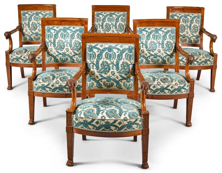 a set of six empire mahogany fauteuils attributed to francoi. Black Bedroom Furniture Sets. Home Design Ideas