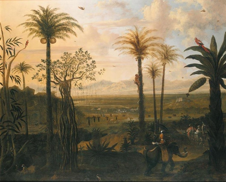 FREDERICK DE MOUCHERON (EMDEN 1633-1686 AMSTERDAM), AN INDIAN LANDSCAPE, SIGNED AND DATED 1673