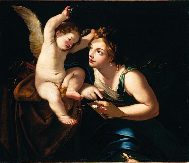 ATTRIBUITO A FRANCESCO GESSI BOLOGNA 1588 - 1649 ALLEGORIA DELLA PITTURA