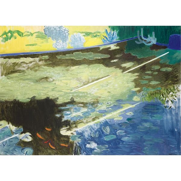 David Michie, R.S.A. b. 1928 , sunlight on a lily pond oil on canvas