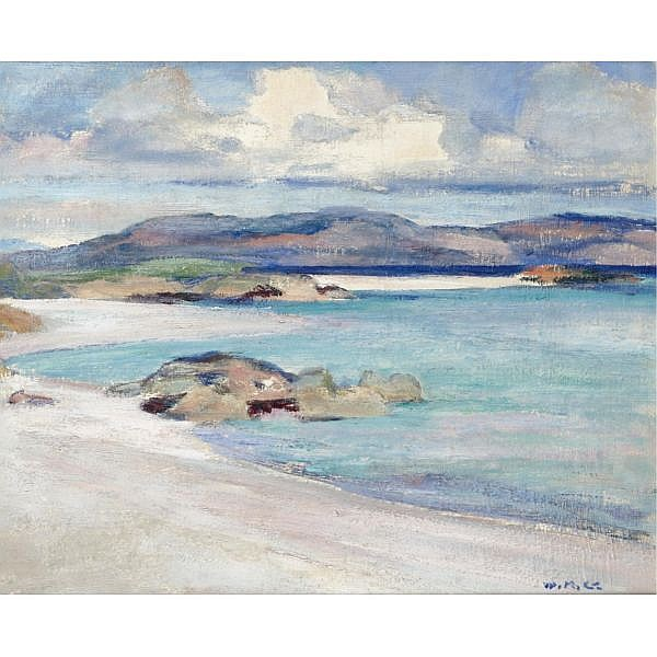 William Mervyn Glass, R.S.A., P.S.S.A. 1885-1965 , ulva from the white sands oil on panel