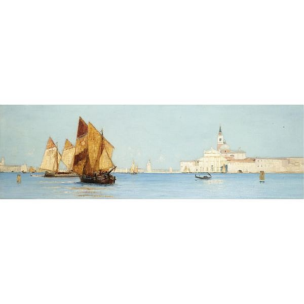 Robert Weir Allan, R.S.W. 1852-1942 , A View of San Giorgio Maggiore, Venice oil on board