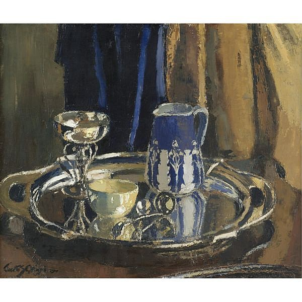 Janetta S Gillespie, R.S.A., R.S.W. 1876-1956 , still life on a silver tray oil on canvas