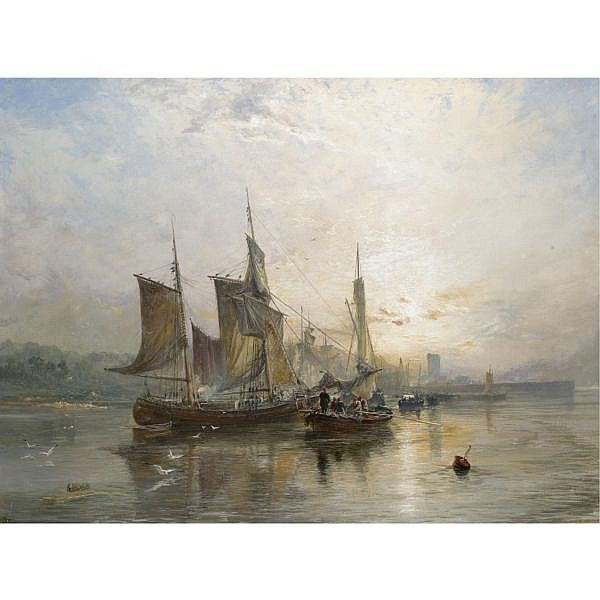 Samuel Bough R.S.A. 1822-1878 , dysart on the fife coast, sunrise oil on canvas