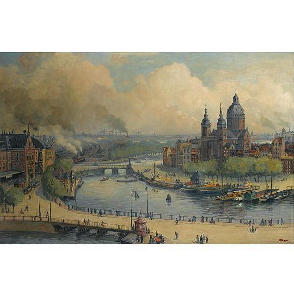 Albert Hemelman Dutch 1883-1951 , a view of the Central Station and St. Nicholaas church, Amsterdam oil on canvas