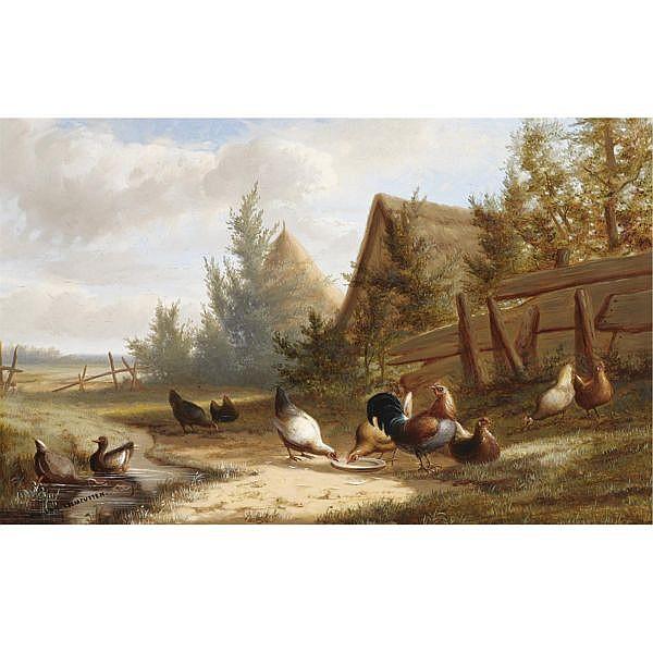 Jean Baptiste Leopold van Leemputten Belgian 1831-1924 , poultry in a summer landscape oil on panel
