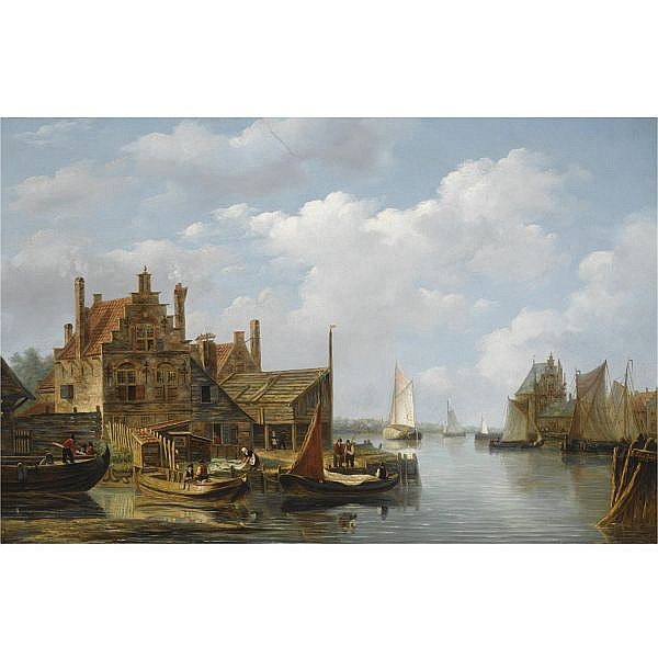 Frans Jacobus van den Blijk Dutch 1806-1876 , a view of a riverside village oil on panel